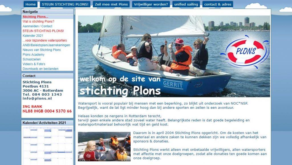 Afbeelding oude website stichting plons